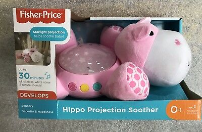 Fisher Price Hippo Projection Soother & Sound Machine Newborn to Infant Pink