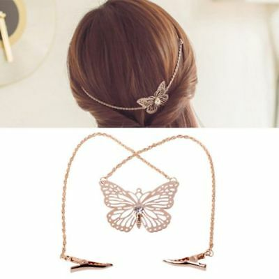 Wedding Bridal Hair Accessories Gold Butterfly Head Piece chain Garland Bride
