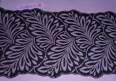3 metres of   Black Scalloped Double sided  Flat  Lace   16 cm wide