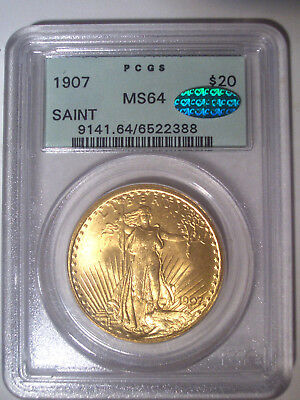 1907 $20 GOLD * PCGS MS64 * OGH * CAC * St. GAUDENS DOUBLE Eagle Dollar * BRIGHT