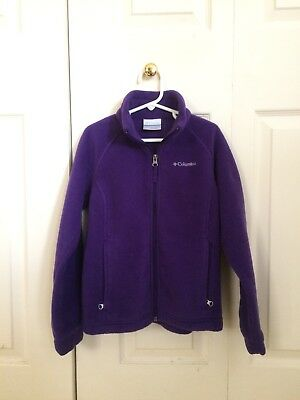 Columbia Girl's Size Small 8 Zip up Purple Fleece Jacket Excellent Condition!