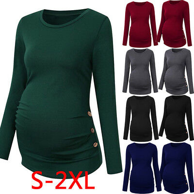 Maternity Shirt Side Button Ruched Maternity Tops Pregnancy Long Sleeve Blouse