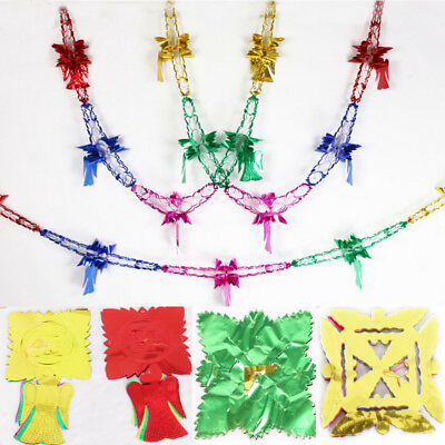 Christmas Colorful Foil Garland Large Ceiling Hanging Xmas Party DIY Decor