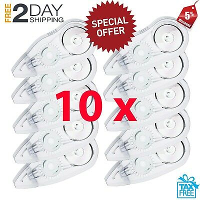 10 Pack Compact Correction Tape Office White Out Tape Paper School Kids Students
