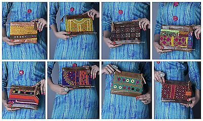 5 PC Wholesale Lot Vintage Afghani Embroidered Art Bags Clutch Purse Leather Bag