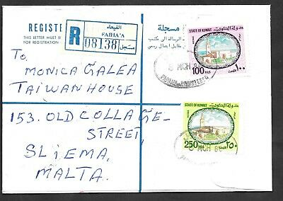Kuwait - 1986 commercial registered letter to Malta with SG904 & SG909.
