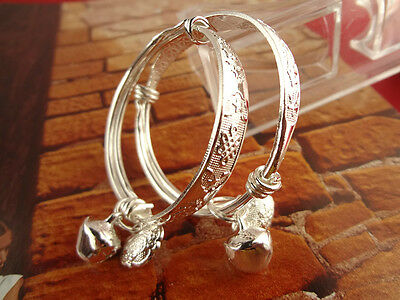 Small Bell Silver Plated Kid Child Baby Childrens Jewelry bangle Bracelet 2PC VC