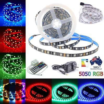 1M-30M LED Strip Light 5050 RGB 30/60LEDs/M Flexible IR Remote/12V Power IP20/65