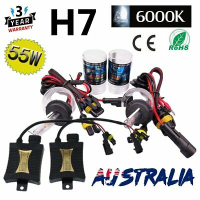 55W H7 6000K HID Xenon Lights Pure White Headlight Slim Ballast Conversion Kit