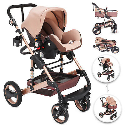 3 in 1 Baby Stroller Buggy Newborn Pram Pushchair Shake-Proof Travel System