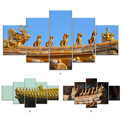 Chinese Dragons Roof Canvas Print Painting Framed Home Decor Wall Art Poster 5P