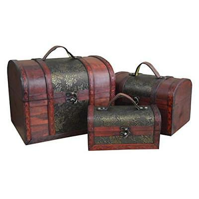 Large Set of 3 Antique Vintage Wooden Treasure Chest Jewellery Box (Gold Leaf)
