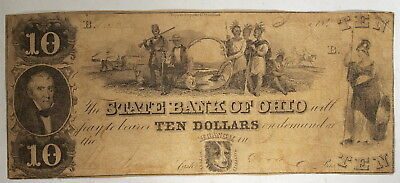 State Bank of Ohio, Commercial Branch, Toledo  1844  $10 Obsolete Banknote