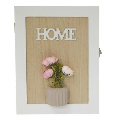New 6 Key 'HOME' Wooden Pink Flower Keyhole Cabinet Box