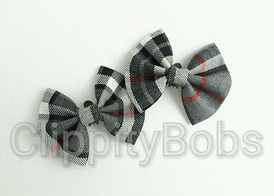 Ladies Girls Handmade Red Grey & Black Tartan Check Soft Fabric Shoe Clips Bow