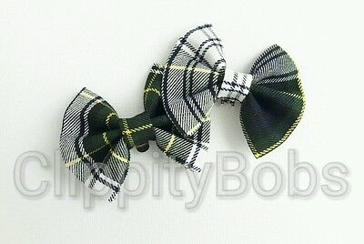 Ladies Girls Handmade Bottle Green & White Tartan Check Fabric Shoe Clips Bow