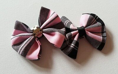 Ladies Girls Handmade Pink Grey & Black Tartan Check Soft Fabric Shoe Clips Bow