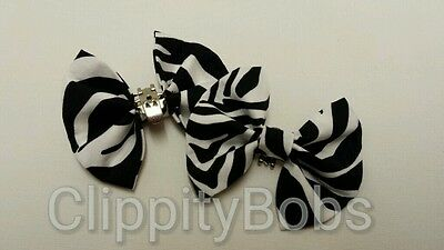 Pair Of Handmade Ladies Black White Zebra Print Stripes Fabric Shoe Bows Clips 2