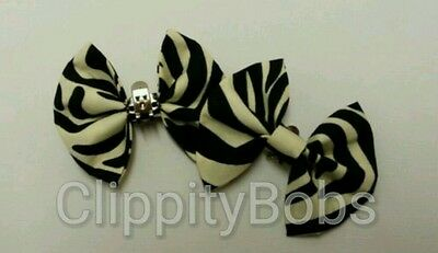 Pair Of Handmade Ladies Cream Balck Zebra Print Stripes Fabric Shoe Bows Clips
