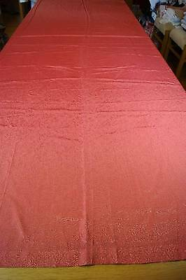 VINTAGE 1920s/1930s TERRACOTTA/PINK SHINY TWO-TONE TABLECLOTH #T99