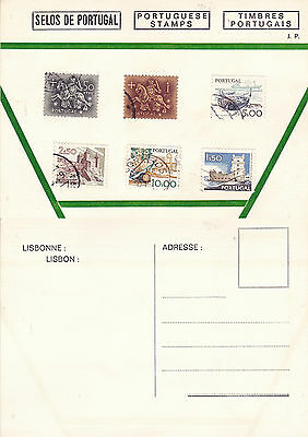 STAMPS OF PORTUGAL ON AN UNUSED COLOUR  POSTCARD (b)