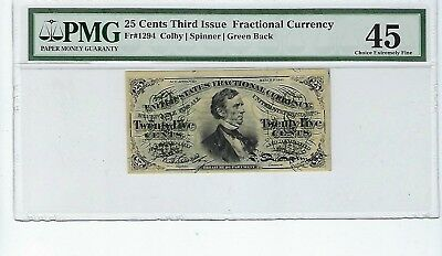 25 Cents Third Issue Fractional Currency Fr#1294 Green Back PMG 45