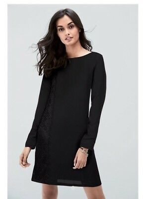 Ladies Black Cowl Back Dress With Embroidered Panel Size 8 Next BNWT £30