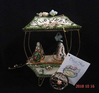 2004 Blue Sky Clayworks Heather Goldminc Flower Cart Tealight Candleholder w/tag