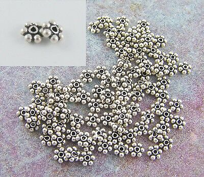 Silver Overlay Daisy Bead Spacer Without Oxidised SSF-101-6MM