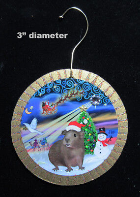 """NEW Double Sided Ornament:  Brown Guinea Pig -""""Christmas Magic"""" by artist"""