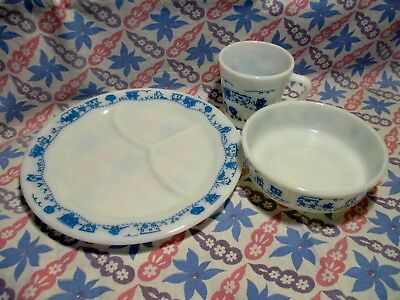 Vintage Pyrex Blue Childs Train Divided Plate, Bowl, & Cup in Excellent Cond.