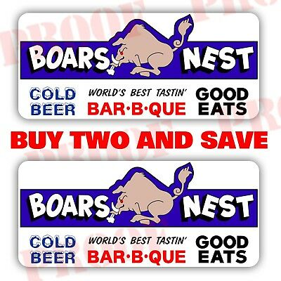 x2 Full Color The Dukes Of Hazzard BOARS NEST laminated decal sticker TV SHOW