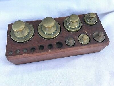 Antique Set brass scale weights- Partial Set with wood box