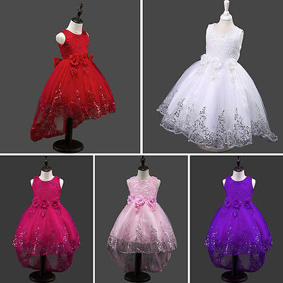 Flower Girls Kids Lace Sequins Party Formal Wedding Pageant Princess Dress Xmas