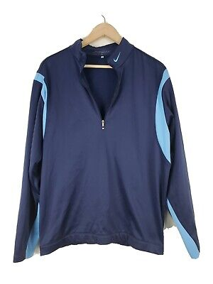 Nike Golf therma Fit pullover sweater Size M navy fleece lined stretch athletic