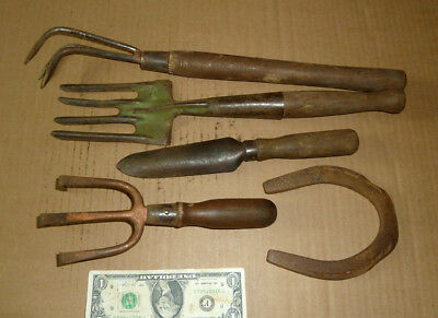 Vintage Farm,Garden,Lawn Tools,Old WM Johnson Shovel,Cultivator,Fork,Wood Handle