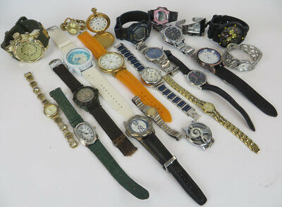 Lot Of 22 Assorted Brands Mixed Watches Mens Women Kids - Working & Non Working