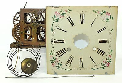 ANTIQUE OG TIME AND STRIKE CLOCK MOVEMENT w/DIAL and GONG - PARTS / REPAIR MX168