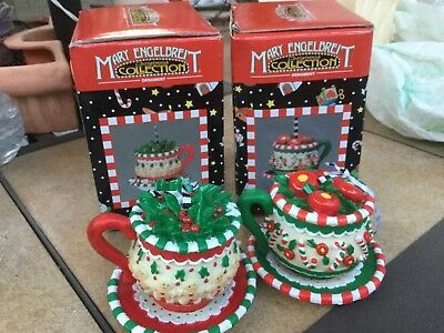 MARY ENGELBREIT Gingerbread peppermint Teacup 2 Ornaments Christmas Collectible