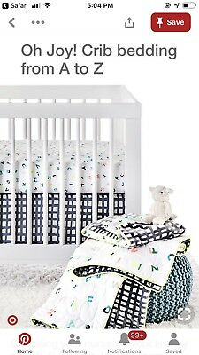 Oh Joy! 4 piece Crib Set Neon Abc Alphabet Baby Bedding New And Pre Owned Pieces