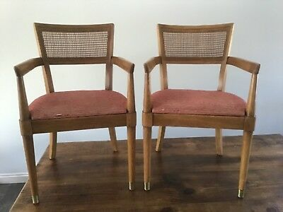 Magnificent Drexel Mid Century Modern Cane Back Arm Dining Chairs Pair Dailytribune Chair Design For Home Dailytribuneorg