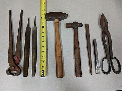 Vintage lot of 8 Blacksmith Tool,Cross & Ball Peen Hammer,Nipper Tong,Snip,Punch