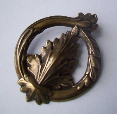 Vintage Brass  Pin Brooch ANTIQUE BRASS FINISH-ART DECO LEAF SHAPE DESIGN