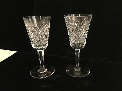 Set Of (2) Authentic & Signed Waterford Crystal Alana Pattern Port Glasses No Re