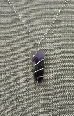 Flat Wire Wrapped Amethyst Necklace Stone Pendant DP730 February Chakra Heal