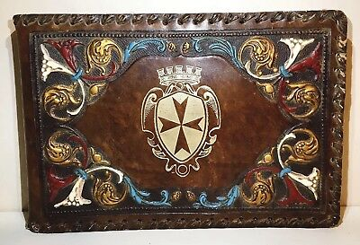 Vintage Hand Tooled Large Embossed Multicolored Leather Photo Album Italy Rare