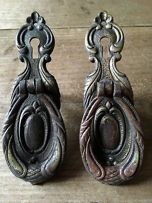Pair Drawer Pull Drop Handles Lock Cabinet Door Antique Solid Brass Victorian
