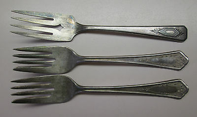 Mixed Lot of 3 Silver-plate Forks WM A Rogers Oneida & Bride Silverplate