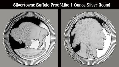 Silvertowne Stackable Buffalo 1 Troy Ounce .999 Fine Silver Round