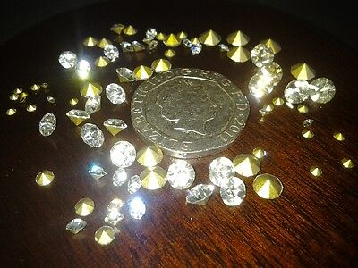 Various Size and Quantities of Gold Point Back Clear Crystal Rhinestones